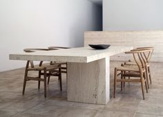 great minimal shape for concrete table