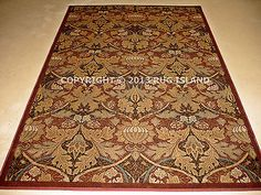 8x11-William-Morris-Arts-Crafts-Mission-Style-Rust-Red-Beige-Gold-Area-Rug