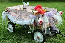 I want an old wagon pulling my flower girl (who will probably be Bailey)