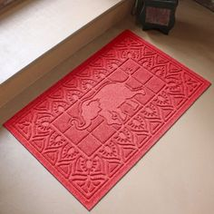 With the Bungalow Flooring Siam I Am Door Mat , a noble elephant guards your doorway. Delta Sigma Theta Gifts, Water Dam, Delta Girl, Polypropylene Rugs, Personalized Door Mats, Recycled Rubber, Mold And Mildew, Sorority, Creative Design