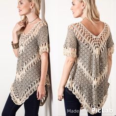 Bohemian Crochet Top  S M L This beautiful boho top is lightweight with crochet details. Color: Mocha Sizes: Small, Medium, Large.  To purchase: comment with size and I will create separate listing for you to purchase. Tops
