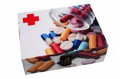 Caixa de Remédios de Madeira Pílula - 20 x 15 x 7 cm