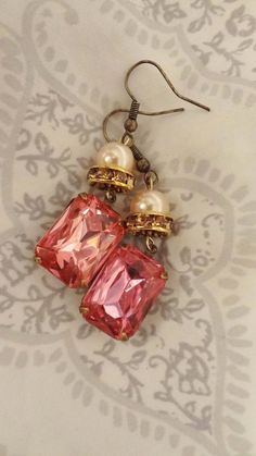Valentine Shabby Chic Pink Earrings by BerthaLouiseDesigns on Etsy