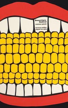Steve Frykholm poster for the Herman Miller Sweet Corn Festival Summer Picnic on August 21, 1970 (via All My Eyes). (scheduled via http://www.tailwindapp.com?utm_source=pinterest&utm_medium=twpin&utm_content=post24593130&utm_campaign=scheduler_attribution)