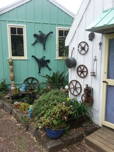 Garden art Garden Art, Cottages, Outdoor Structures, Plants, Cabins, Country Homes, Cottage, Plant, Yard Art