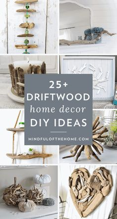 Want some cheap and easy driftwood projects? These driftwood DIY crafts and ideas are perfect for coastal home decor lovers and a budget-friendly way to decorate with nature. Twig Crafts, Beach Crafts, Easy Diy Crafts, Diy Home Crafts, Diy Craft Projects, Diy Home Decor, Driftwood Projects, Driftwood Art, Driftwood Mobile