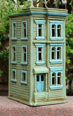 Townehouse #4 | Harry Tanner Design  Miniature clay house illuminated sculpture