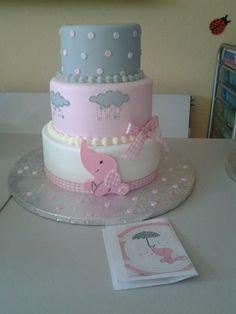 Pink Elephant Baby Shower Cake - CakesDecor