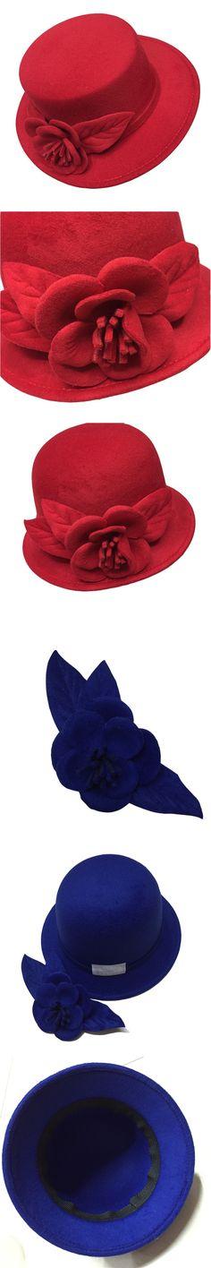 2016 autumn winter elegant ladies hats felt fedora round bowler hats red white black pink flower church vintage hats for women $15.78