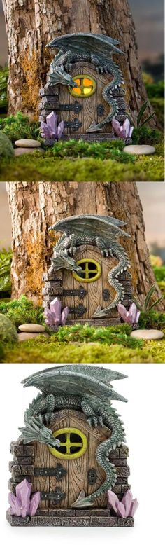 Garden Plaques and Signs 75592: Dragon Fairy Door Garden Flowerpot Decoration Led Light Patio Outdoor Fantasy -> BUY IT NOW ONLY: $39.99 on eBay!