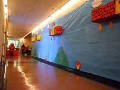 - Portland State University This would be an AWESOME Halloween theme. Dorm Themes, Vbs Themes, Game Themes, Classroom Themes, Super Mario Birthday, Mario Birthday Party, Mario Party, 5th Birthday, School Hallway Decorations