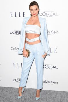 Who: Miranda Kerr What: Light Blue Head to Toe Why: Kerr commits to light blue in a suit, bra top and shoes by Calvin Klein Collection for a streamlined look. Get the look now: Calvin Klein suit, calvinklein.com.    - HarpersBAZAAR.com