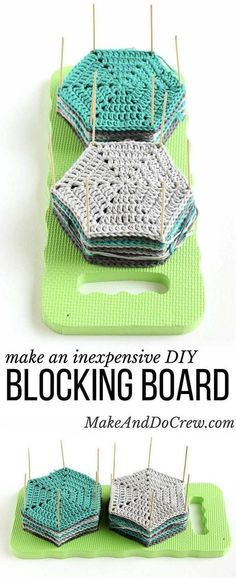Learn how to block crochet or knit hexagons or granny squares with this incredibly easy and inexpensive DIY blocking board (made from a garden kneeling pad!) Click for full tutorial. | MakeAndDoCrew.com via @makeanddocrew