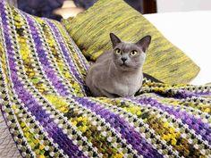 Virkatussa torkkupeitossa hehkuvat syksyn sävyt/blanket Afghan Blanket, Birds, Knitting, Crochet, Crafts, Afghans, Doggies, Blankets, Craft Ideas
