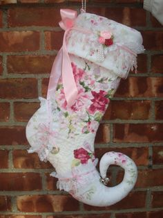 quilted shabby chic stocking by richie416 on Etsy, $100.00