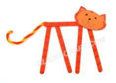 Popsicle Stick Tiger Craft for Kids – Jungle Animals Puppets Templates
