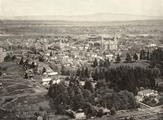 Portland, Oregon Panorama, 1894  This photo was taken from Market St. Dr. (on Vista Ridge in Goose Hollow).  The large building at upper right is the old Portland High School at SW 14th and Morrison. The intersection of 18th and Jefferson is at the lower right.