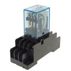 2 x 12VDC 5A Coil Power Relay JQX-13F MY4NJ HH54PL 14Pins 4PDT Socket Base