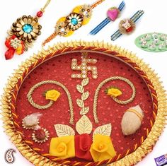 Picture of SWASTIK Thali with Rakhi set and sweets
