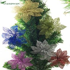 Hot New 10pcs Artificial Flowers Christmas Tree Wedding Decoration Christmas Home Decorations New Year Christmas Decorations.-Q #clothing,#shoes,#jewelry,#women,#men,#hats,#watches,#belts,#fashion,#style