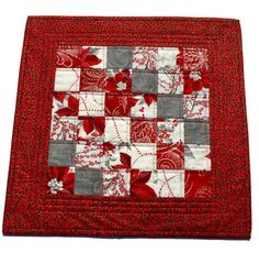 Christmas Quilted Table Topper Silver and Red, Quilted Holiday Table Decor, Christmas Quilted Centerpiece, Quiltsy Handmade by LawsonCreations on Etsy