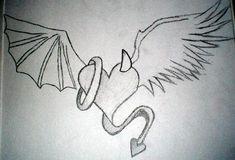 Angel vs Devil Drawings Angel vs Devil Heart by kiley-nicole on deviantART # Demon Drawings, Cool Art Drawings, Pencil Art Drawings, Art Drawings Sketches, Easy Drawings, Tattoo Drawings, Angel Devil Tattoo, Angel And Devil, Wings Drawing