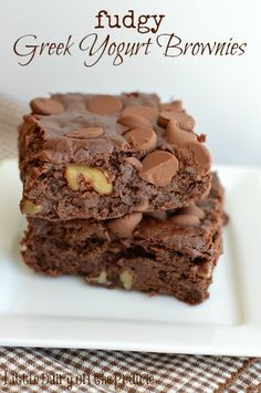 Fudgy Greek Yogurt Brownies! These brownies are so fudgy it's almost like eating fudge!  Little Dairy on the Prairie