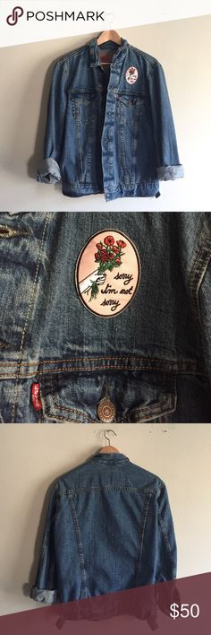 Vintage Levi's Denim Jacket With Patch Excellent vintage condition! I ironed on a super cute patch from Rose Hound Apparel over the left breast. Perfect for your pin collection! This jacket could fit an XS-M depending on fit. Vintage Jackets & Coats Jean Jackets