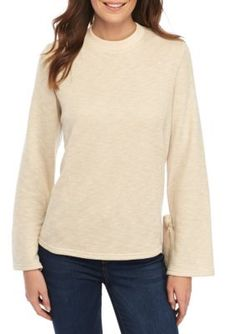 Sharagano Women's Pullover Sweater With Bow Sleeve - Oatmeal Cr - Xl