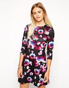 ASOS A-Line Scuba Dress with Long Sleeves in Petal Floral ...pattern, longer sleeves, waist seem