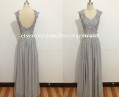 Gray Long Formal Dress,Long Evening Dress,Top Lace With Cap Sleeves And Backless prom dress new arrive 2015