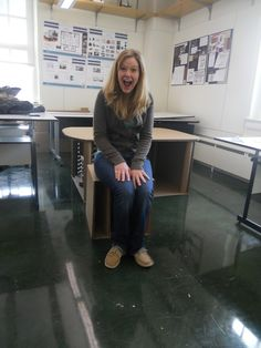 Group one- Suzanne demonstrates sitting on the stool.