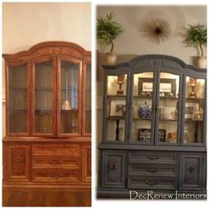 wOW, what a difference. Grandma's china cabinet transformed! Decorating in Southlake, Texas