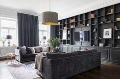 Style by Lojs ( Modern Interior Design, Interior Design Living Room, Living Room Designs, Kitchen Interior, Living Room Tv, Home And Living, Home Office Design, House Design, Bookshelf Design