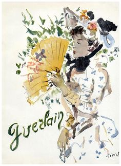 1945 Guerlain perfume ad with art by Berard