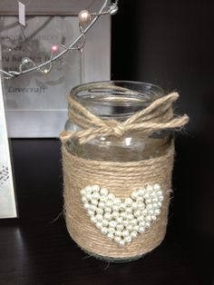 String heart jar Glass Bottle Crafts, Mason Jar Crafts, Mason Jar Diy, Bottle Art, Formula Can Crafts, Tin Can Crafts, Diy And Crafts, Bedroom Crafts, Seashell Crafts