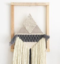 Currently remaking this 'dark grey roving' weaving, and prepping to ship it off to Australia as a custom housewarming gift! Shop this same piece as a 'made to order' weaving in the shop. Weaving Textiles, Weaving Art, Tapestry Weaving, Wall Tapestry, Wool Wall Hanging, Weaving Wall Hanging, Wall Hangings, Nifty Crafts, Yarn Crafts