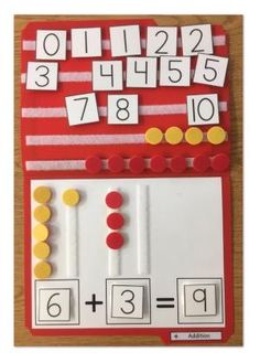 Teach your students simple addition up to 10 using this file folder activity. Having ALL the pieces stuck to the folder makes it easier for distracted students and it's a simple visual to support them learning addition. by leona Simple Addition, Math Addition, Addition And Subtraction, Teaching Addition, Preschool Math, Kindergarten Math, Teaching Math, Preschool Themes, Preschool Printables