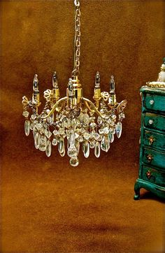 Handmade, hand beaded 1/12th scale vintage style doll house miniature crystal chandelier 5 arm, ooak