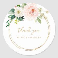 Wedding Reception Favors, Bridal Shower Favors, 50th Wedding Anniversary Invitations, Blush Bridal Showers, Hand Drawn Flowers, Thank You Stickers, Wedding Stickers, Wedding Thank You, Round Stickers