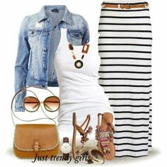 pencil skirt in stripes with jean jacket