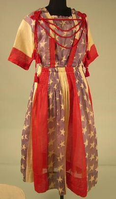 American Flag Dress, ca 1917-18, American, Oakland Museum of California. Worn to a Liberty Bond Drive during WWI