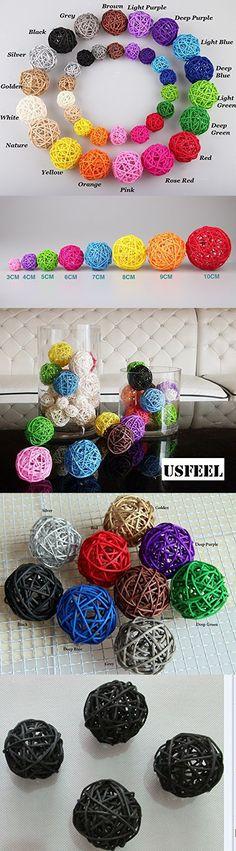 10pcs Handmade Wicker Rattan Balls, Garden, Wedding, Party Decorative Crafts, Vase Fillers, Rabbits, Parrot, Bird Toys (3CM, 10# Black)