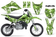 Kawasaki Motocross Graphic Sticker decal Kit - Kawasaki MX Graphics for: Kawasaki Motorbikes, Kawasaki Dirt Bikes, Motocross, Mx Bikes, Bike Life, Cars And Motorcycles, Racing, Stickers, Vehicles