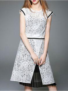 Paneled Lace Three Piece Midi Dress