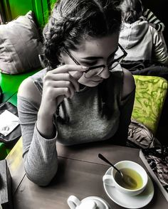 #art #glasses #style #pose #tea #cafe #coffee #shop #green #blackandwhite #black #white #braids