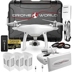 Best Phantom 4 Bundle in the World! Drone World specializes in Phantom 4 Kits with Premium Quality Exclusive Accessories BEST LONG RANGE SYSTEM ON THE MARKET: DUAL WIFI BOOSTERS, 5 MILES RANGE: Fully Internalized custom WiFi Boosters increases range up 4-5+ mi (In ideal conditions) Drone Worlds DJI Phantom 4 Kit Includes: Phantom 4 Drone, Long Range System, Nanuk 950 Hard Wheeled Case &...