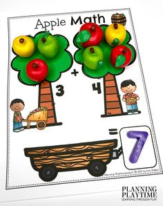 Place the correct Number of Apples on each tree....ADD & Show the SUM! - Apple Worksheets Preschool