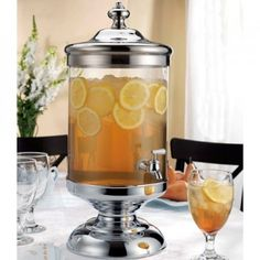 This large 2.5 gallon capacity hand made glass beverage dispenser is ideal for serving iced tea, lemonade, sangria, alcoholic concoctions and more. It's perfect for parties, graduations, reunions, holidays or wherever there's a large gathering that needs