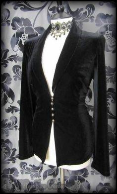 Victorian Goth Soft Black Velvet Riding Jacket / Blazer 14 16 Steampunk Romantic | THE WILTED ROSE GARDEN on eBay // Worldwide Shipping Available